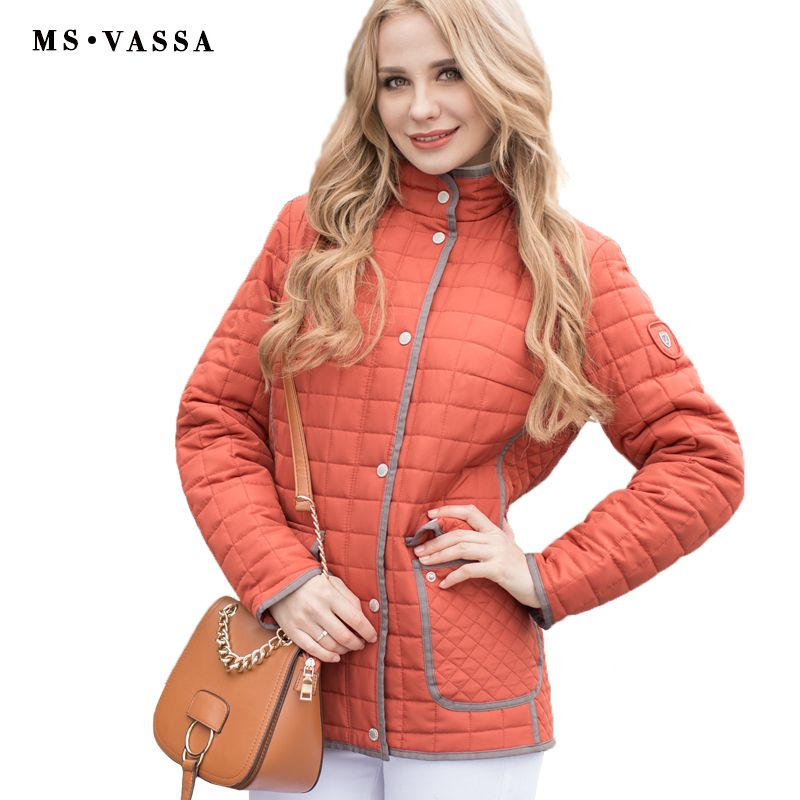 MS VASSA Women jacket 2017 New casual jacket Autumn Spring Ladies Coat rips tape around hem and placket plus size 5XL 6XL 7XL