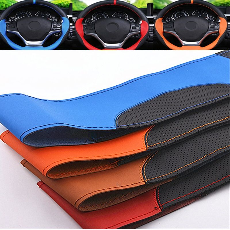 Promotion Universal Steering Wheel Car 15 inches Braid On Steering Cover Micro Fiber Leather Non-slip Steering-wheel Covers 2017