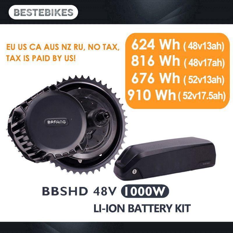 Bafang motor BBSHD 48V1000w elektrische motor kit bbs03 batterie velo electrique bicicleta electrica 52V17. 5ah EU/UNS KEINE Steuer