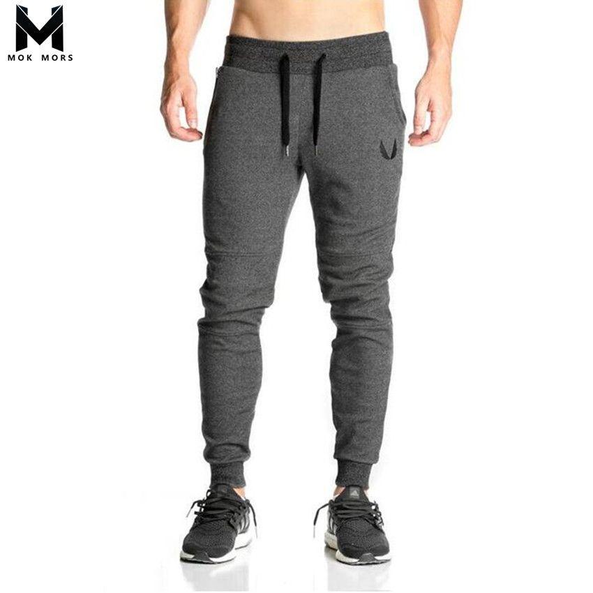 2017 Cotton Men full sportswear Pants Casual Elastic cotton Mens <font><b>Fitness</b></font> Workout Pants skinny Sweatpants Trousers Jogger Pants