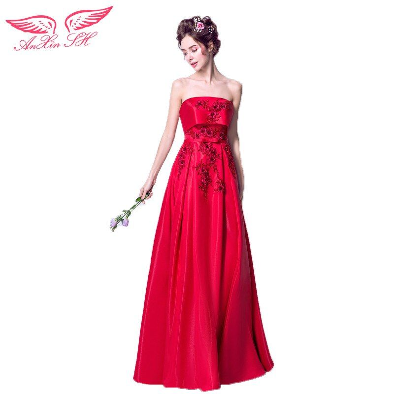 AnXin SH Stylish temperament, fan gorgeous, light perception fabric, red flower, bridal evening dress, toast 2319