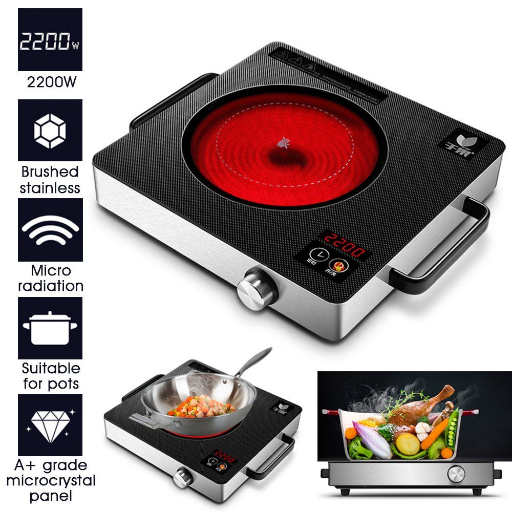 2200W 220V Multifunctional Hot Plates Quick Heat Preset/ Touch Count Down Timer Induction Cooker Countertop Burner For Kitchen