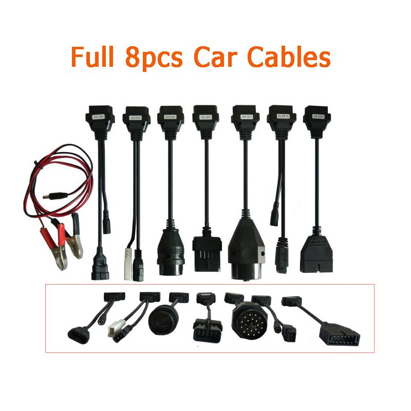 A+Qaulity OBD OBD2 Adapter Converter Cable diagnostic tool TCS CDP Car Cables for CDP Pro plus full set 8pcs for autocoms