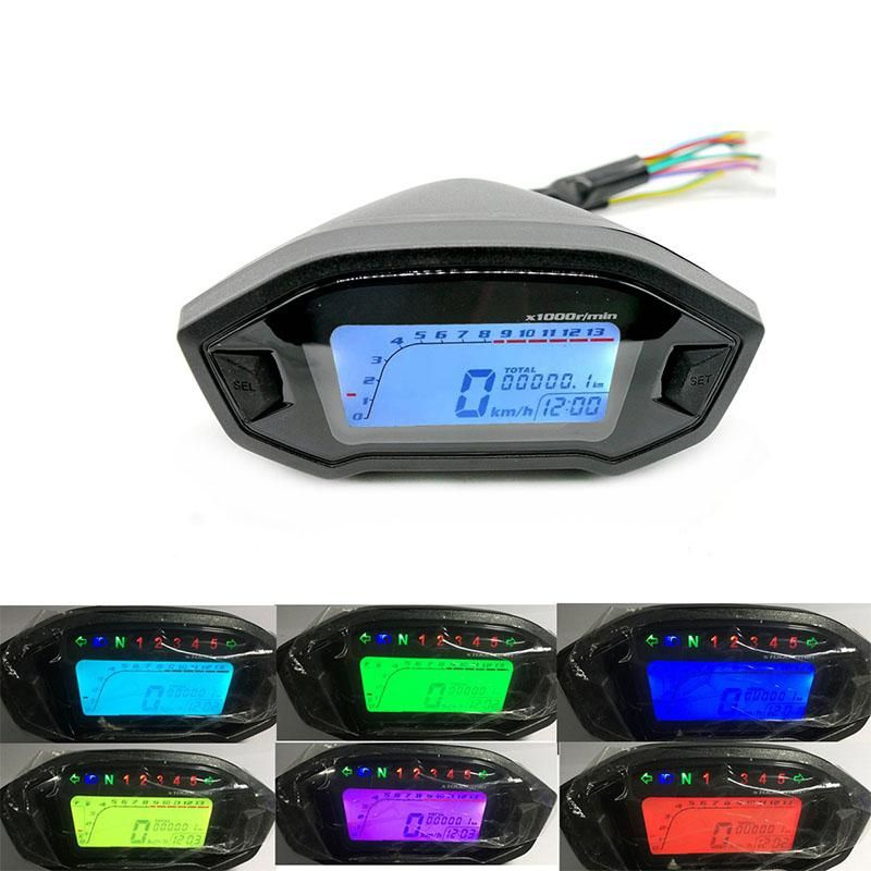 LumiParty 12V Universal Motorcycle LCD Digital 13000rpm Speedometer Backlight Motorcycle Odometer Motorcycle Odometer r18