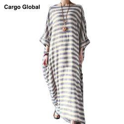 Мусульманская Турецкая одежда abaya хлопок полосатый женское Макси платье летнее с коротким рукавом V образным вырезом мусульманское свободн...
