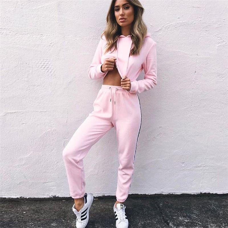 Для женщин спортивные костюмы комплект из 2 частей розовый укороченный топ и Брюки для девочек мода 2018 осень Повседневное леди tumblr с длинным...
