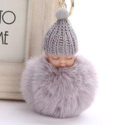 Lucu Bayi Tidur Boneka Gantungan Kunci Pom Kelinci Fur Ball Mobil Gantungan Kunci Mainan Bayi Gantungan Kunci Wanita Gantungan Kunci Tas Liontin perhiasan