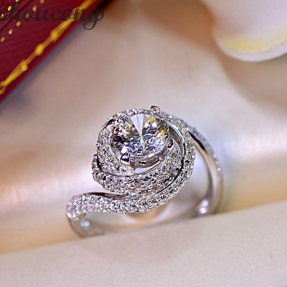 Choucong Femmes Mode Bijoux anneau 2ct AAAAA zircon cz 925 En argent Sterling de Fiançailles Croix Bague De Mariage pour les femmes