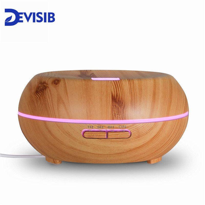 DEVISIB Essential Oil Diffuser Aroma Cool Mist Humidifier with Waterless Auto Shut-off and 7 Color LED Light, BPA Free for Home