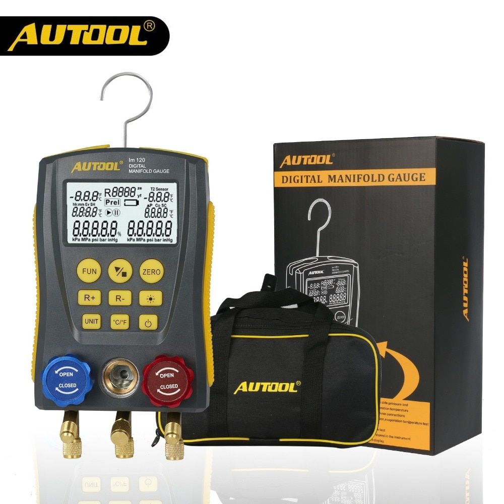 AUTOOL lm120 Refrigerantion Digital Manifold Gauge Meter HVAC Vacuum Pressure Temperature Tester Kit with Test Clip and Pipe