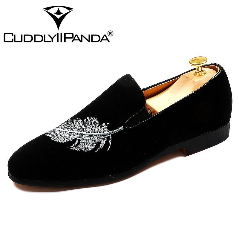 CUDDLYIIPANDA 2018 Black Summer Trending Shoes Men Slip on Casual Comfortable Loafers Feather Embroidered Leisure Driving Shoes