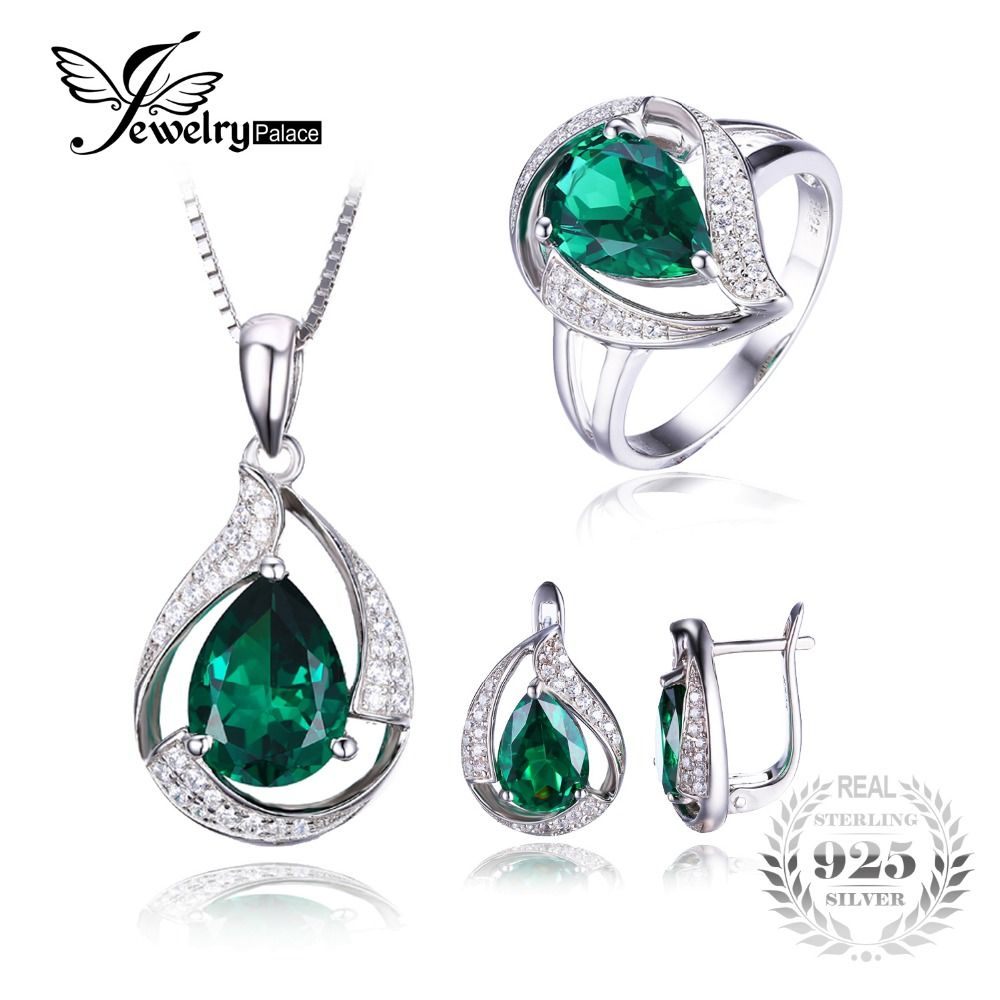 Jewepalace Water Drop Created Emerald Jewelry Set 925 Sterling Silver Ring Necklace Pendant Earring Women Bridal Jewelry Set