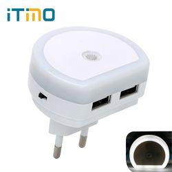 iTimo LED Night Light with Dual USB Port 5V 1A Light Sensor Control Room Home Lighting Plug-in Wall Lamp EU/US Plug Socket Lamp