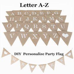 Personalizar partido bandera carta A-Z No.0-9 Diy Jute arpillera Bunting Banner banderas Candy Bar decoración de la boda Baby Shower favor