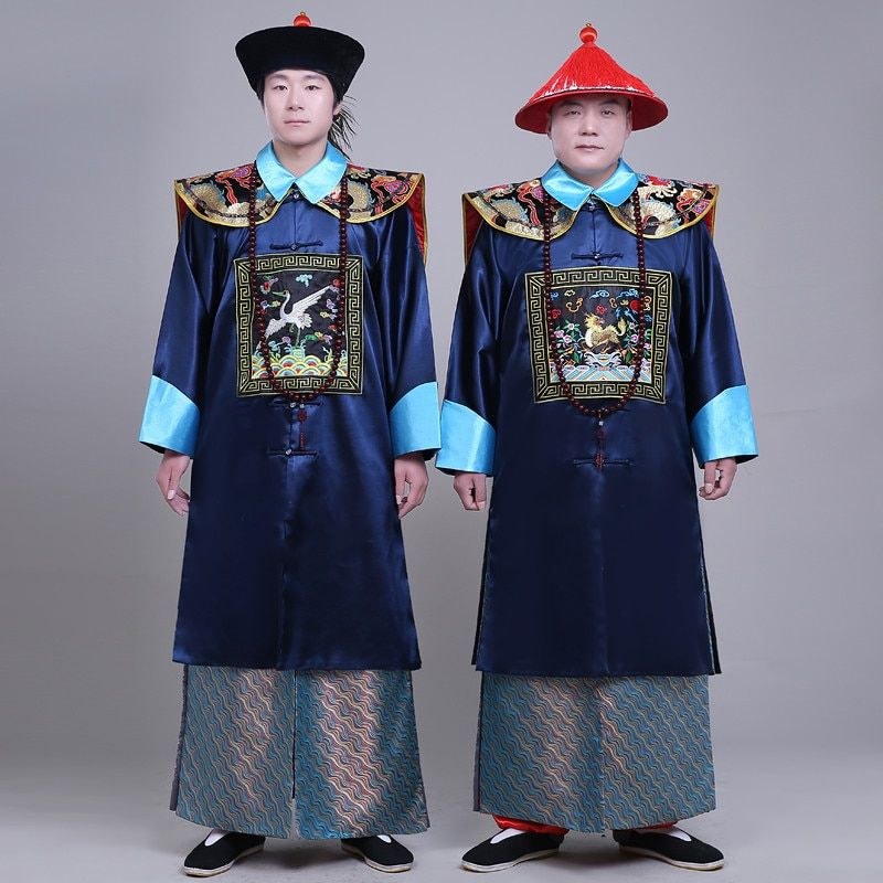 New arrival black the Qing dynasty Minister's costumes male Clothes ancient Chinese style men's togae costume