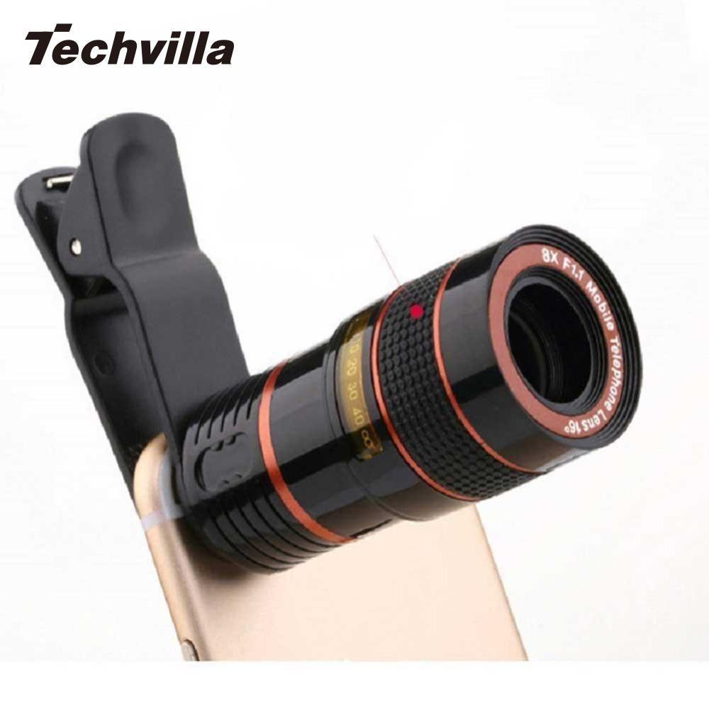 Techvilla Универсальный 8X зум телескоп объектив лупа клип на бинокль фотографии для сотовый телефон Смартфон черный