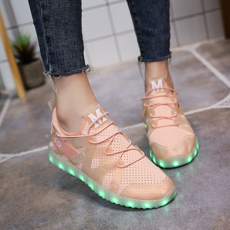 YPYUNA NEW FASHION glowing sneakers for girls light up shoes illuminated krasovki luminous sneakers 2017 luminous PU shoes