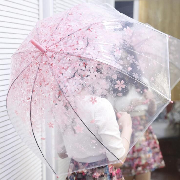 New Fashion Transparent Clear Umbrella Cherry Blossom Mushroom <font><b>Apollo</b></font> Princess Women Rain Umbrella Sakura Long Handle Umbrellas