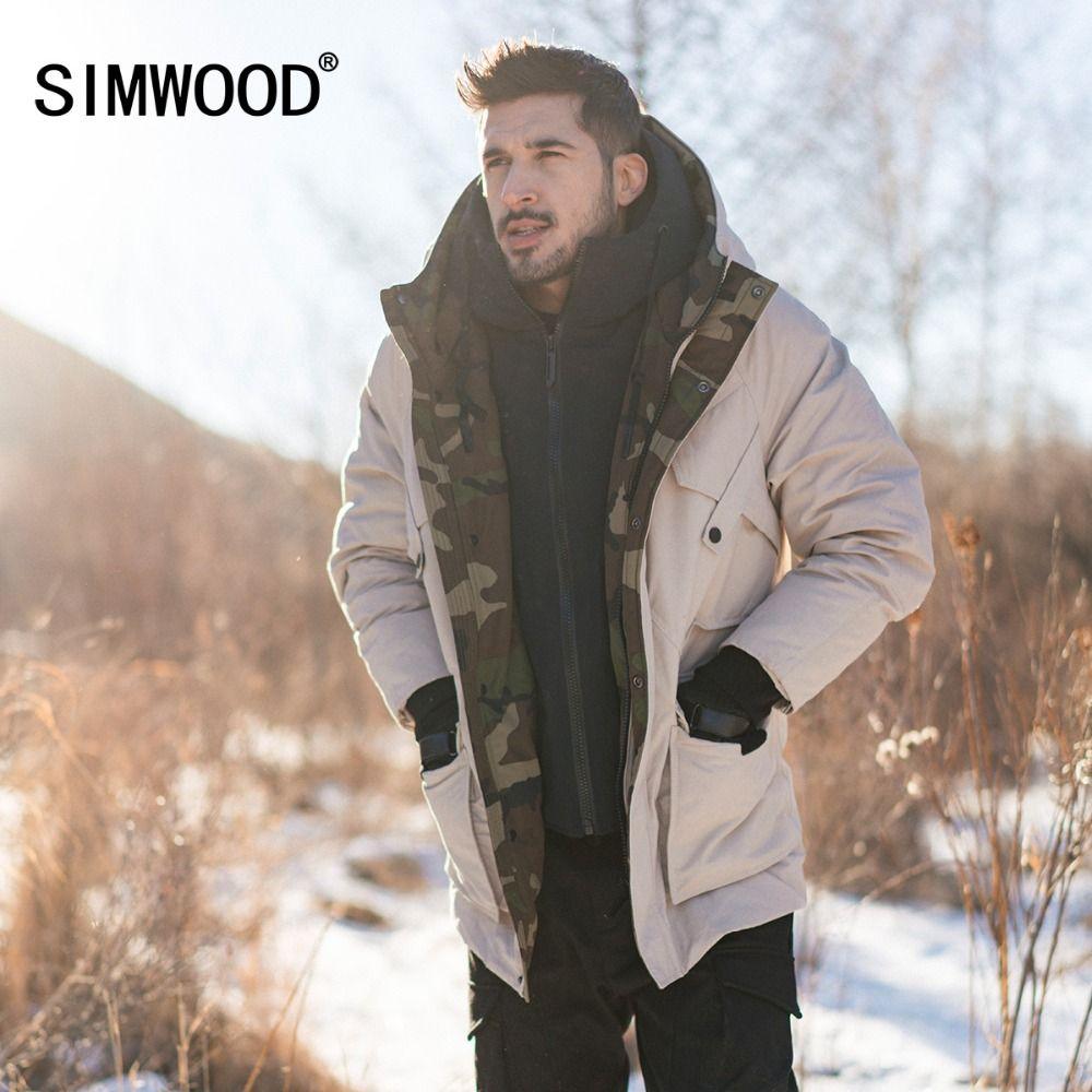 SIMWOOD Weiße Ente Unten Mäntel Männer Winter Warm Mit Kapuze Puffer Mode Kontrast Farbe Camouflage Jacke Plus Größe Kleidung 180430