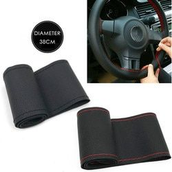 37cm/38CM DIY Steering Wheel Covers soft Leather braid on the steering-wheel of Car With Needle and Thread Interior accessories