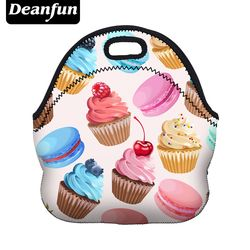 Deanfun Women Lunch Bag 3D Printed Neoprene Waterproof Zipper  Hot sale for Food Package 50807
