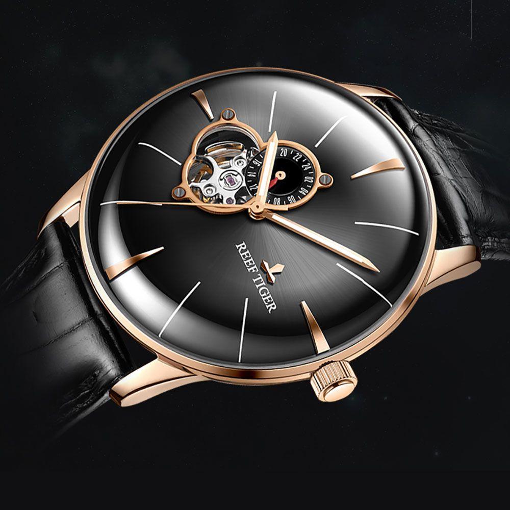 2018 riff Tiger Mode Sport Uhr Männer Top Marke Luxus Automatische Echtes Lederband Rose Gold Analog Uhren Reloj Hombre
