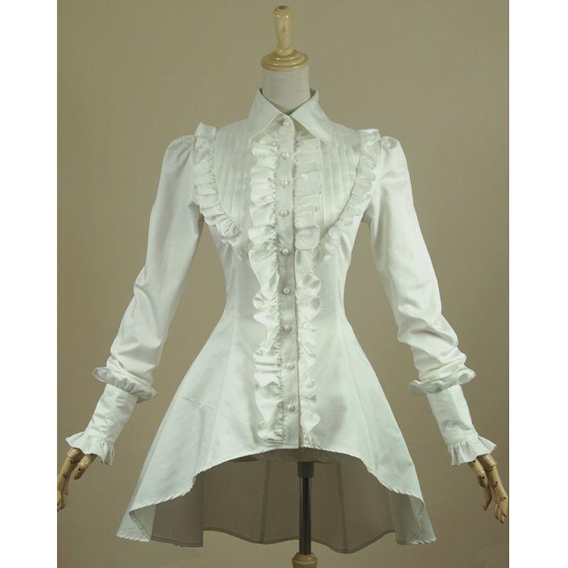 Весенняя женская белая рубашка с оборками Винтаж викторианской Рубашки Дамы Готический ласточкин хвост блузка Лолита костюм