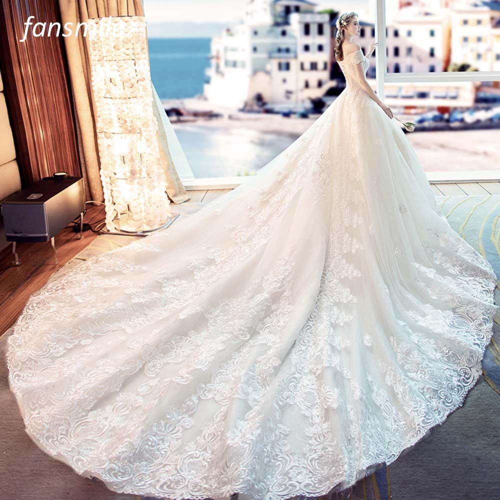 Fansmile Tulle Mariage Vestido De Noiva Lace Wedding Dresses 2018 Train Plus Size Customized Wedding Gowns Bridal Dress FSM-461T