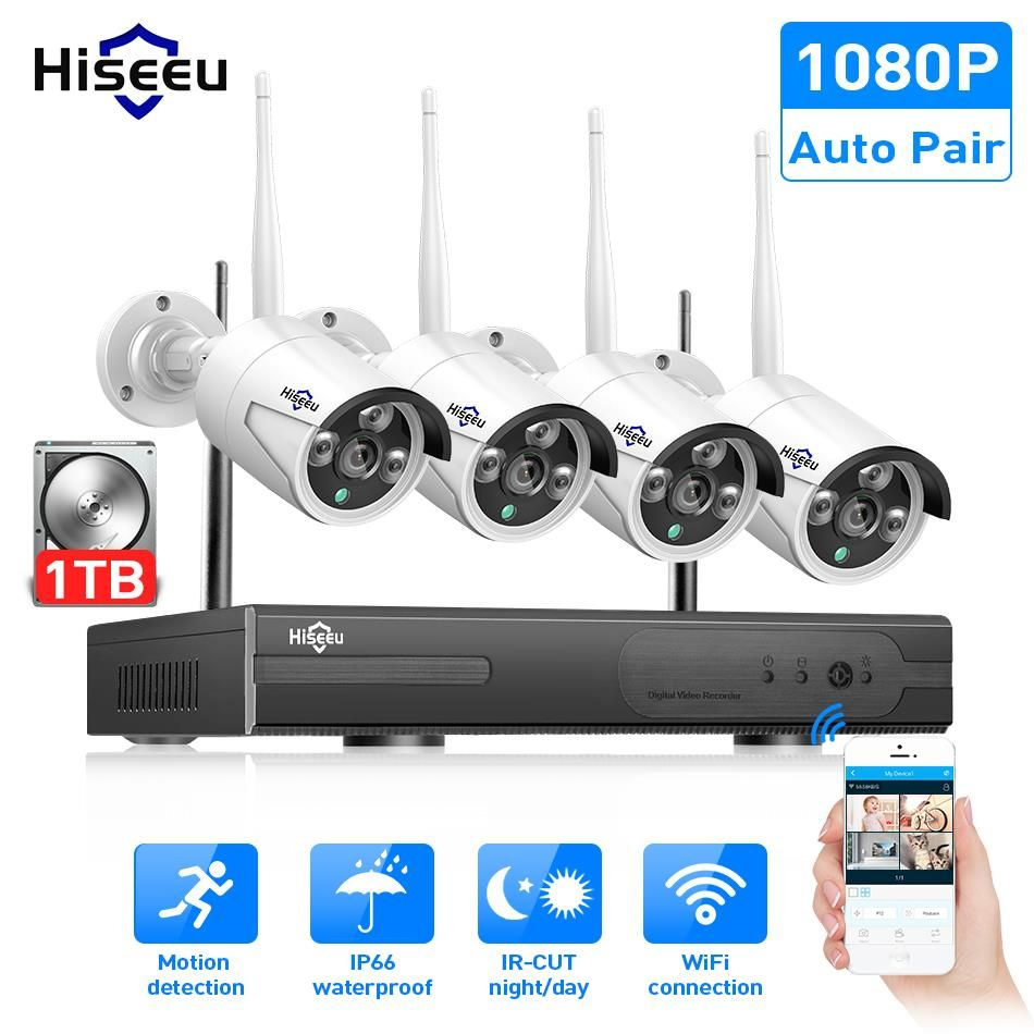 Wireless CCTV <font><b>System</b></font> 1080P 1TB HDD 2MP 4CH NVR IP IR-CUT outdoor CCTV Camera IP Security <font><b>System</b></font> video Surveillance Kit hiseeu