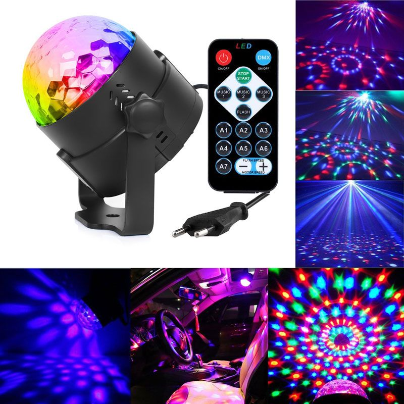 3W Mini RGB Crystal Magic Ball Sound Activated Disco Ball <font><b>Stage</b></font> Lamp Lumiere Christmas Laser Projector Dj Club Party Light Show