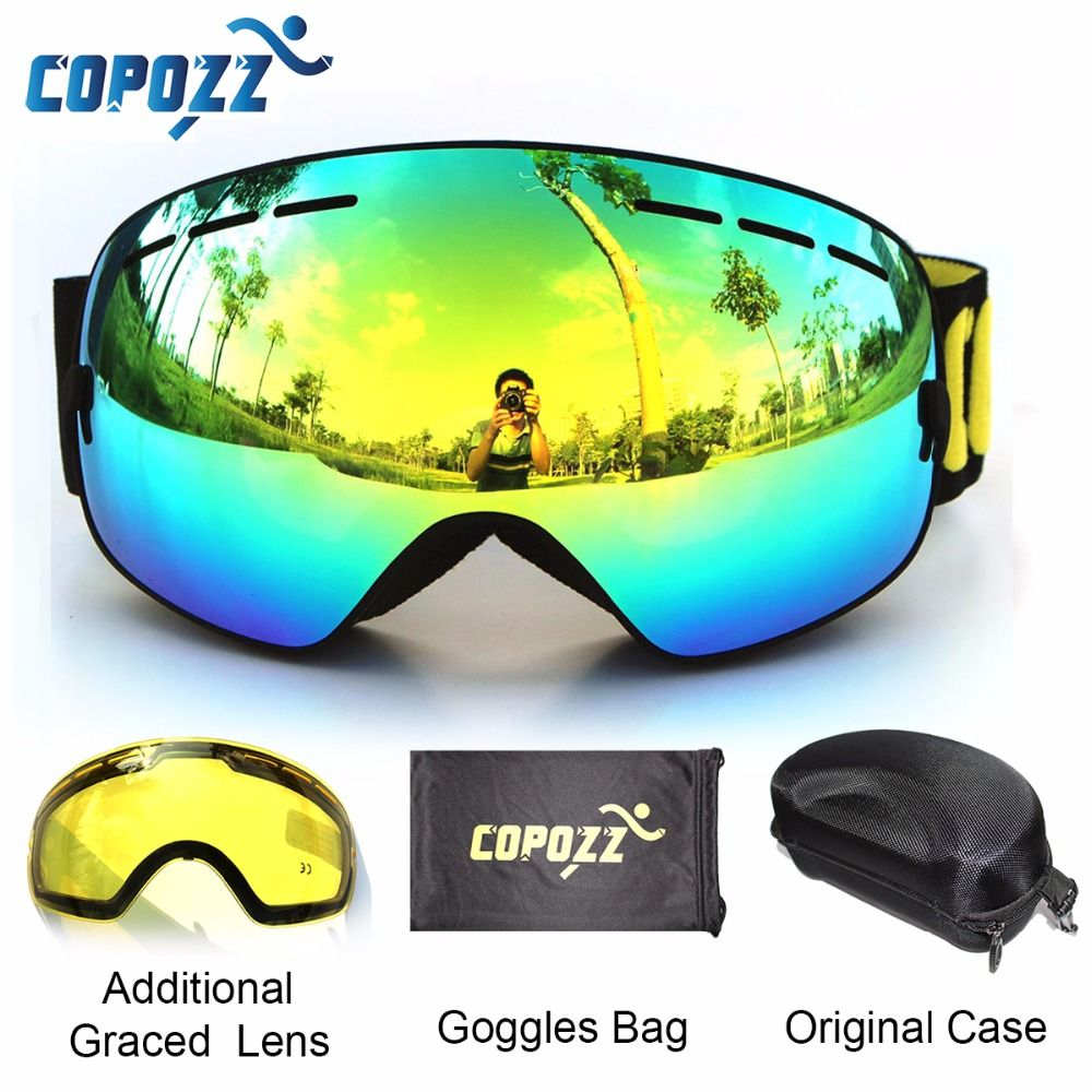 COPOZZ brand ski goggles 2 double lens anti-fog UV400 big large spherical snowboard glasses men women skiing snow goggles Set