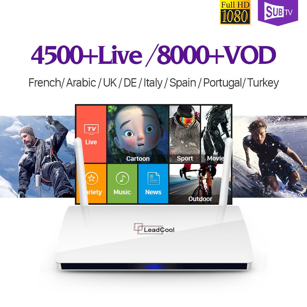 Leadcool Smart Android 6.0 TV Box IP TV 1 Year SUBTV IUDTV QHDTV Code IPTV Europe Italia Belgium French Arabic IPTV Box
