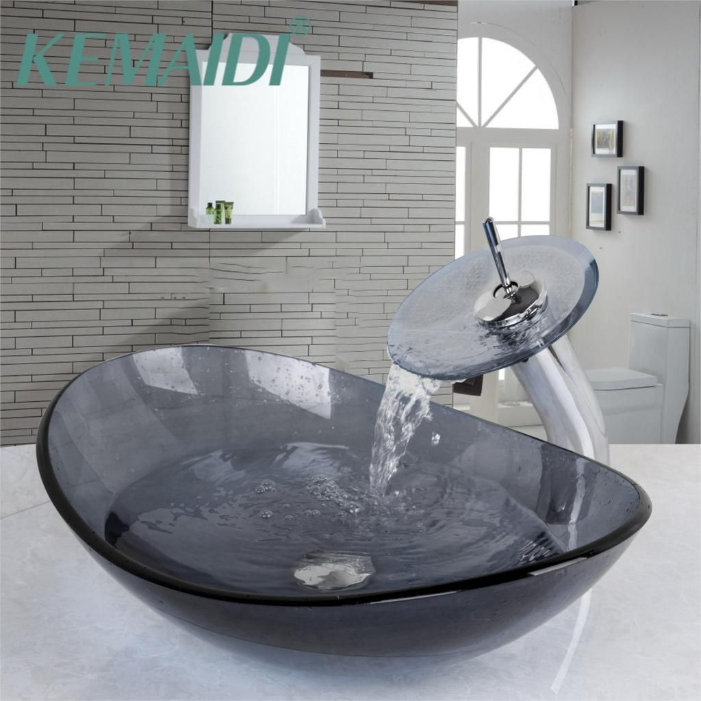 YANKSMART Gray Tempered Glass Sink +Waterfall Glass Basin Faucet Combine Brass Faucet Mixer Tap Round Washbasin Lavatory