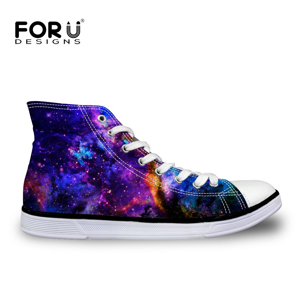 FORUDESIGNS Classic Mens High-Top Vulcanized Shoes Male Spring Autumn Casual Canvas Shoes Fashion Galaxy Star Lace-up Flat Shoes
