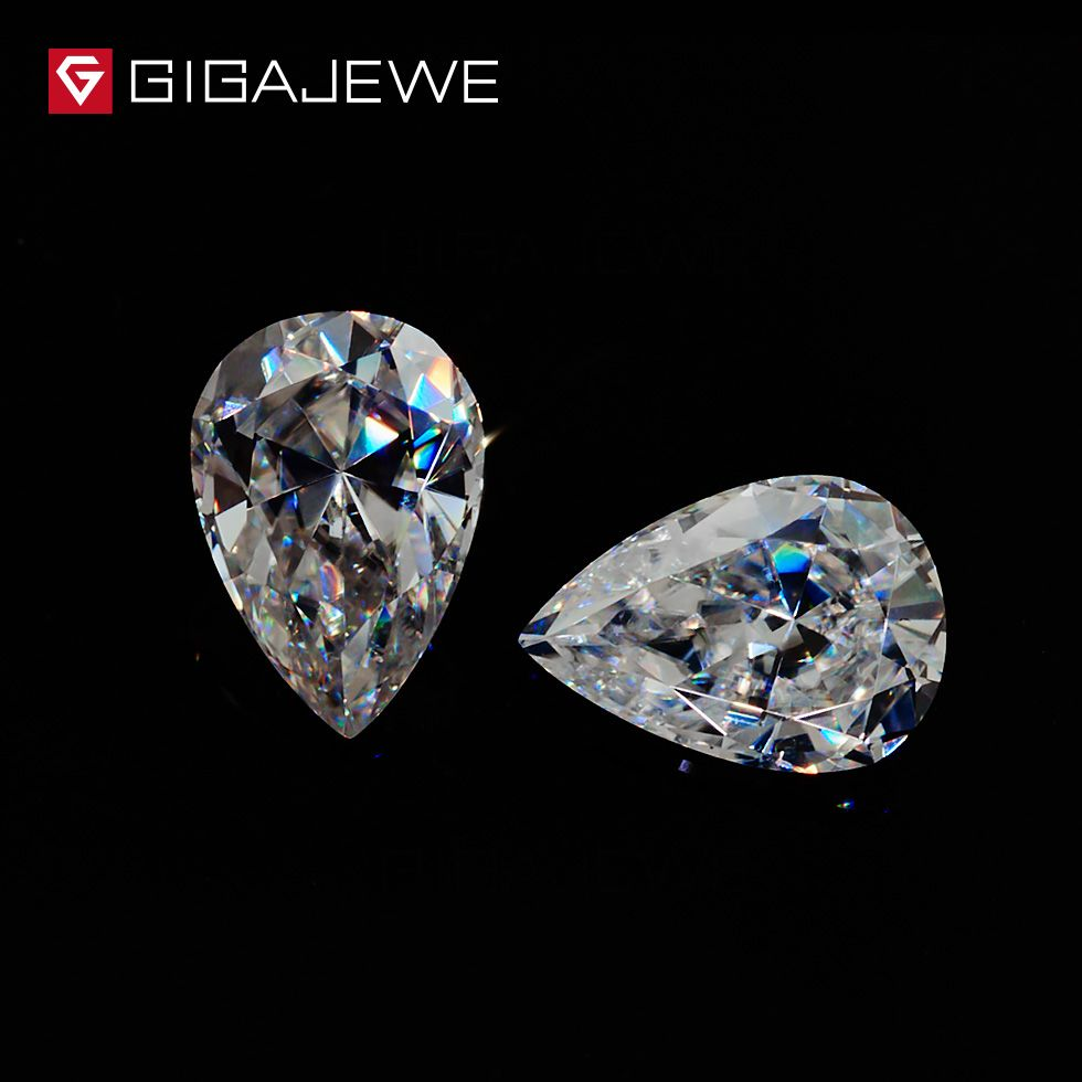 GIGAJEWE Moissanite Pear Cut 6*10mm 1.8ct White G color Loose Beads Gem Decorative Jewelry Stones Charm for Ring And Necklace
