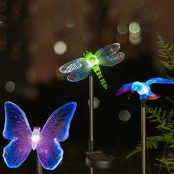 RGB LED Solaire Jardin Lumière Extérieure Imperméable À L'eau Pour Le Jardin Décoration Papillon Oiseau Libellule Moderne Nouveauté Art Solaire Lampe Décor