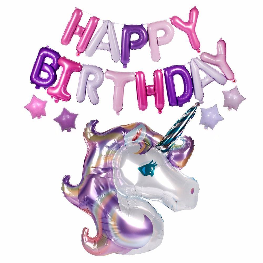 FENGRISE 18 pcs/ensemble Licorne Ballon avec Joyeux Anniversaire Lettre Ballons de Fête D'anniversaire Décorations pour Enfants Licorne Partie Faveurs