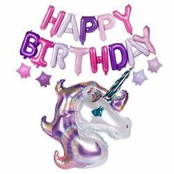 FENGRISE unicornio lindo globo con Feliz cumpleaños carta globos fiesta de cumpleaños decoraciones para niños unicornio partido favores