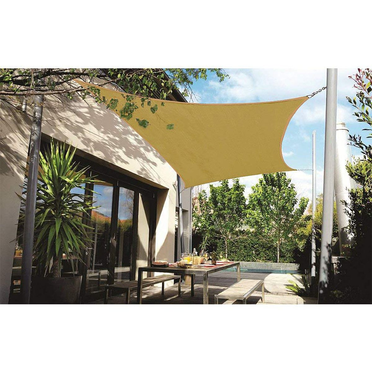 280GSM HDPE Farbic Square 3x3m/4x4m Sun Shade Sail Sunshading Nets 4x4m for Garden Cover Flowers Plants Patio Lawn
