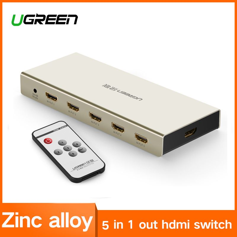 UGREEN HDMI Switch 4K x 2K 5 Port 5 in 1 HDMI Splitter Switcher Box Supports 3D Compatible for HDTVs Blu-ray Players Xbox PS3/4