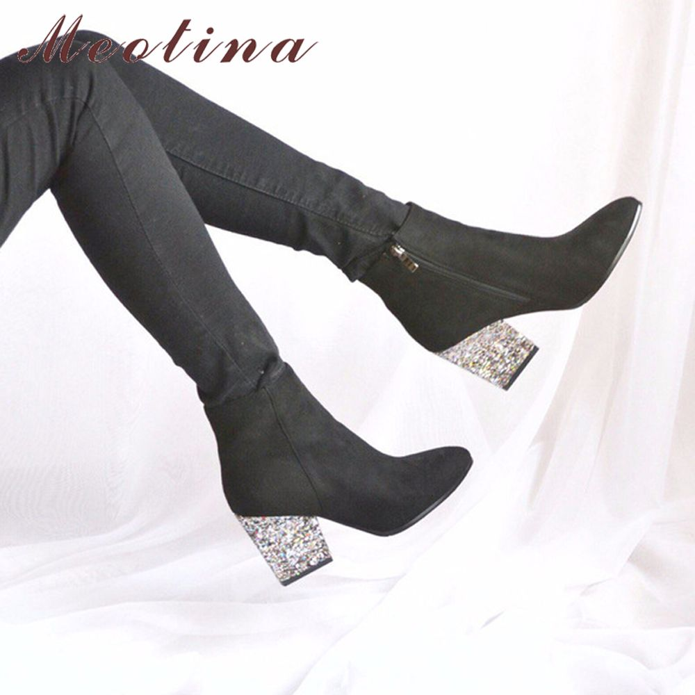 Designer Femmes Bottes Chaussures Femmes Talons hauts Cheville Bottes Zipper Bout Pointu Glitter Martin Bottes Dames Chaussures Grande Taille 9 10 43