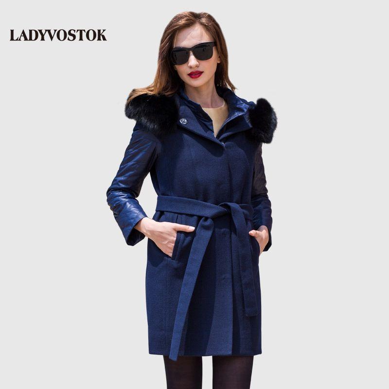LADYVOSTOK Herbst Winter 2018 Weibliche mit pelzkragen Langen mantel mit futter Warme Mantel Oberbekleidung Y3618