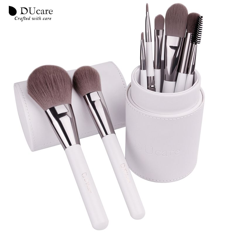 DUcare Makeup Brushes professional Cosmetics brush Set <font><b>8pcs</b></font> High Quality top Synthetic Hair With White Cylinder brushes set