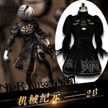 Hot Games NieR Automata heroine 2B Black Cosplay Costumes Women Fancy Party Dress Full Set for Halloween