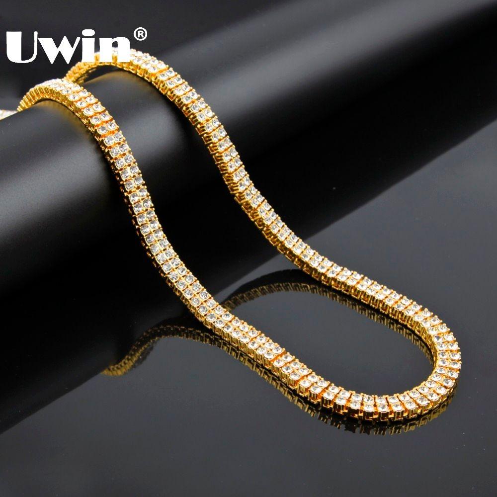 Nouveau 2015 Hip Hop glacé 2 rangées pharaon cristal Bling Bling cubain collier chaîne couleur or grand déclaration colliers pour hommes