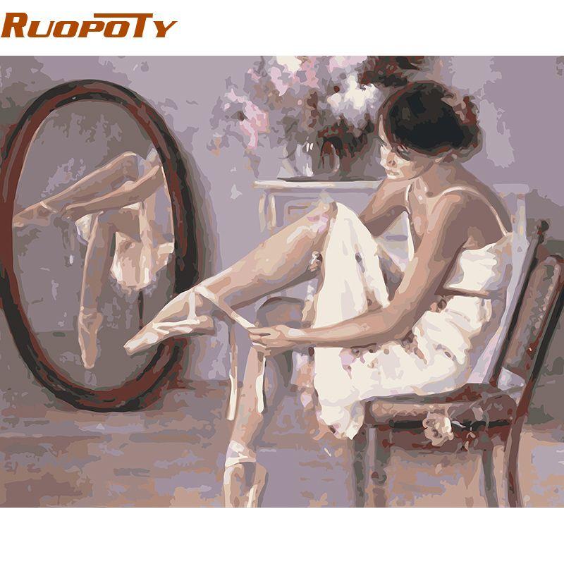 RUOPOTY Ballet danseur peinture à la main par numéros moderne peint à la main toile peinture à l'huile maison mur Art photo chambre décoration 4050
