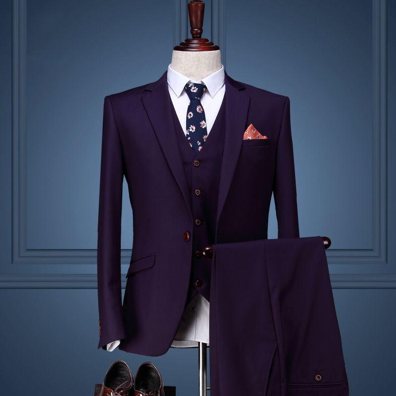 Для мужчин одежда конструкции пальто брюки Нарядные Костюмы для свадьбы для Для мужчин Slim Fit Костюмы Для мужчин S жениха фиолетовый Смокинги...