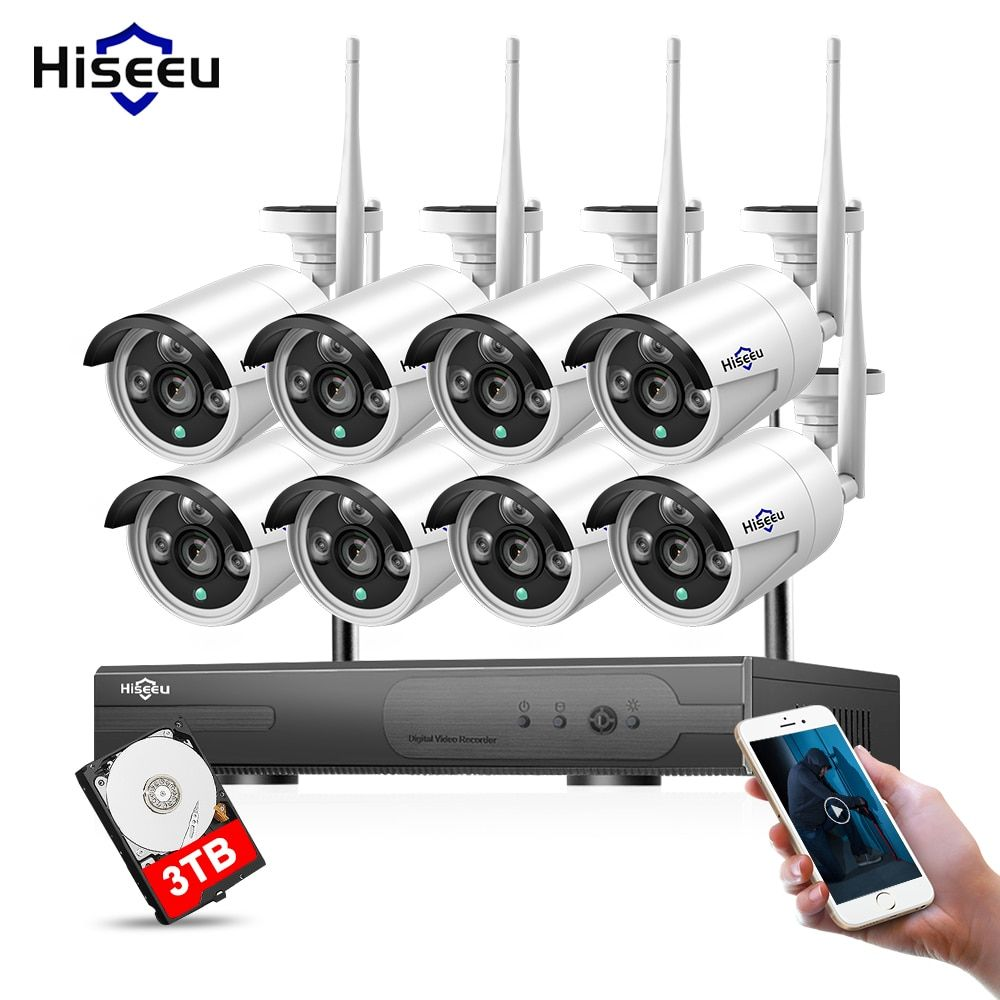 1080P 8CH 3T HDD Wireless CCTV Camera System 960P IP Camera WIFI NVR Kit Outdoor Security Video Surveillance System Hiseeu