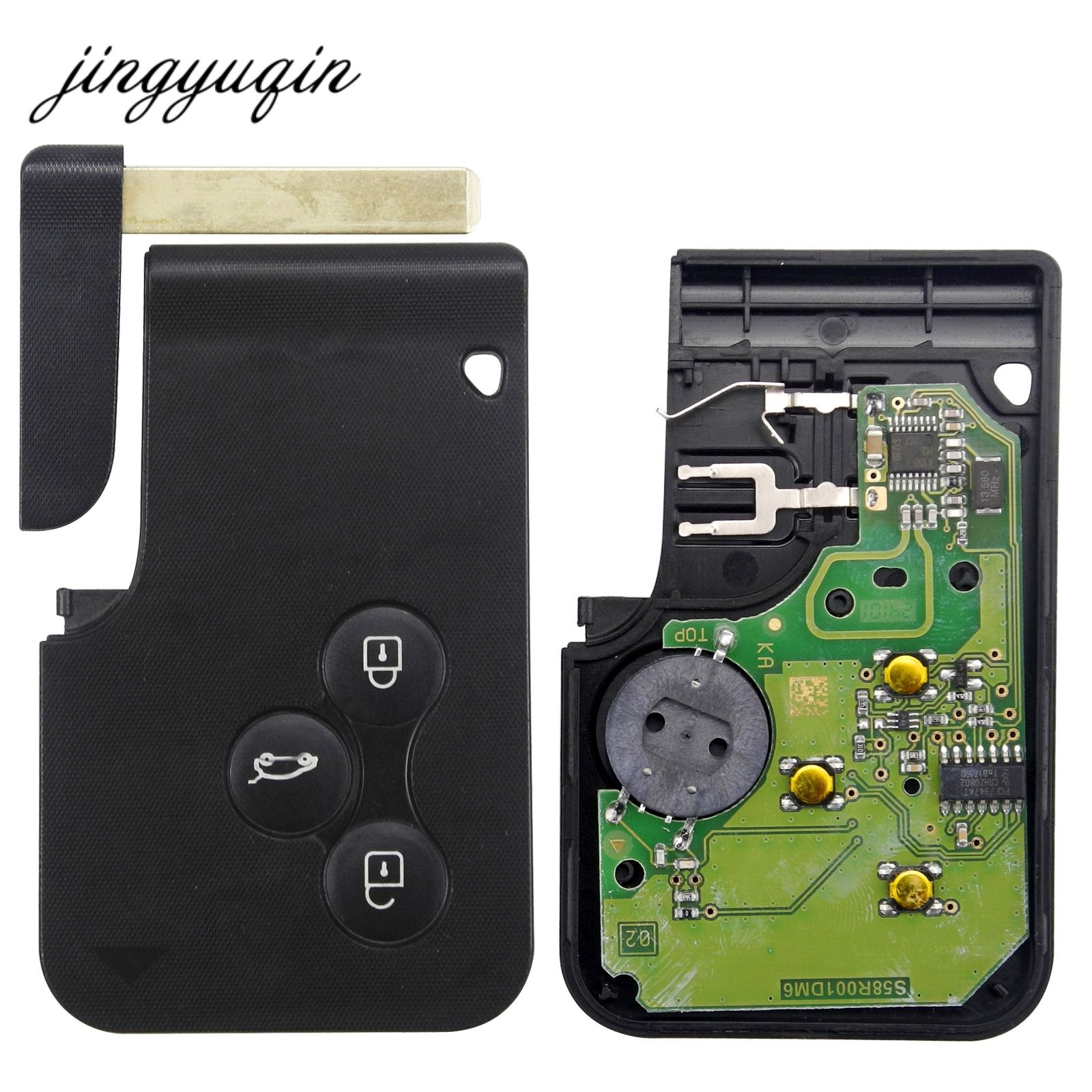 jingyuqin Smart Key Card for <font><b>Renault</b></font> Megane II Scenic II Grand Scenic 2003-2008 433mhz PCF7947 Chip ID46 3 Button Remote PCB