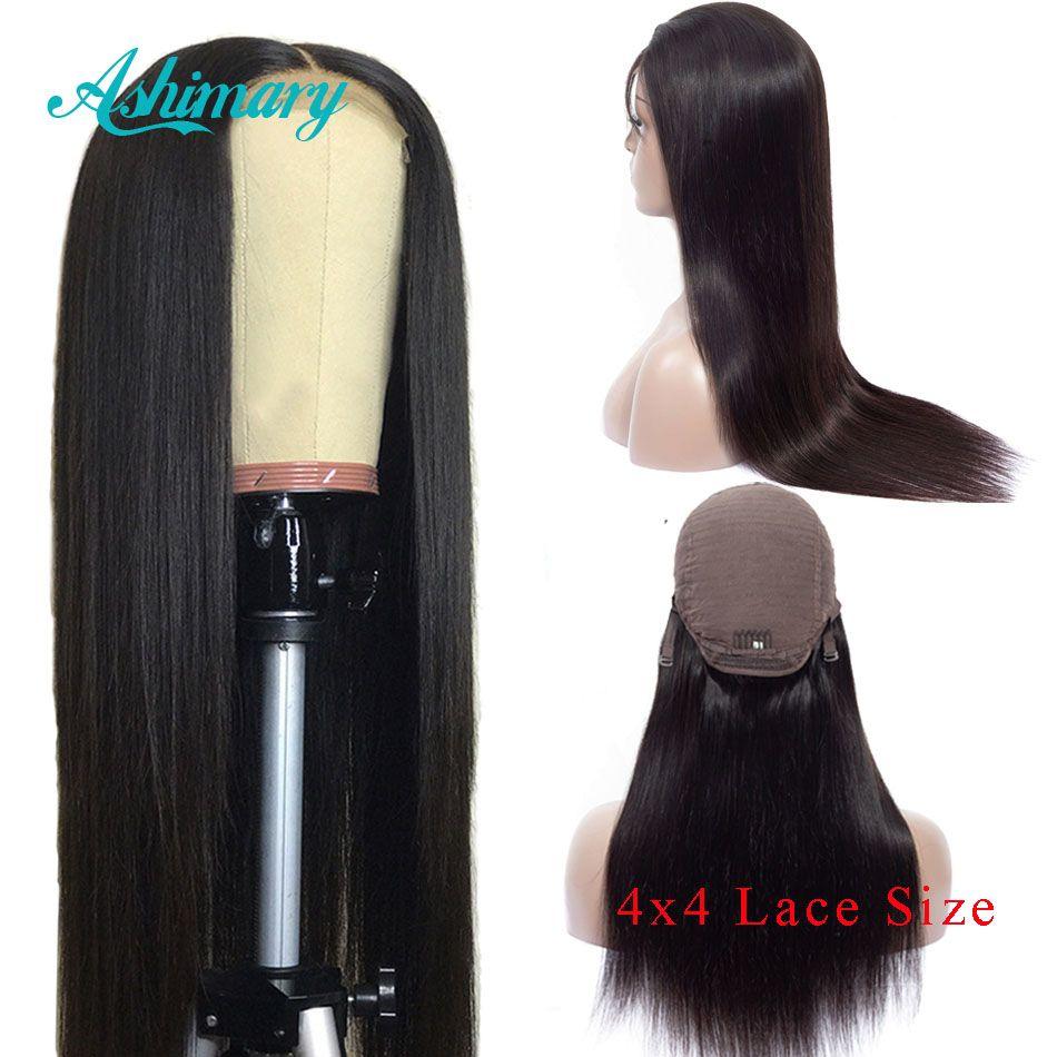 Ashimary 4x4 perruques de fermeture de dentelle Remy brésilien perruques de cheveux humains perruques de dentelle droite pour les femmes noires pré-cueillies avec des cheveux de bébé